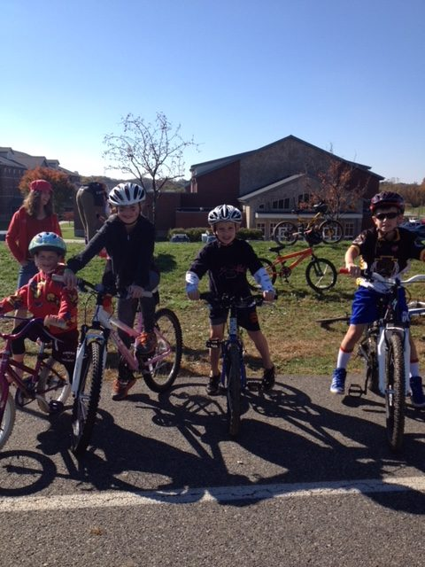 Picture of the Waltons on bikes